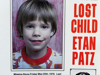 "A copy photo of the original missing poster of Etan Patz is shown during a news conference near a New York City apartment building, where police and FBI agents were searching a basement for clues in the boy's 1979 disappearance in New York, April 19, 2012. The authorities began their search early on Thursday at the SoHo neighborhood building where the 6-year-old boy disappeared, FBI spokesman Peter Donald said. Patz, who was one of the first missing children to appear on a milk carton, was formally declared dead in 2001. His disappearance helped launch a national movement on the issue of missing children. The date May 25 was declared ""National Missing Child Day"" in his honor. REUTERS/Keith Bedford(UNITED STATES - Tags: CRIME LAW)"