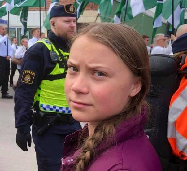 Greta Thunberg , lors d'une manifestation pour le climat en Suède