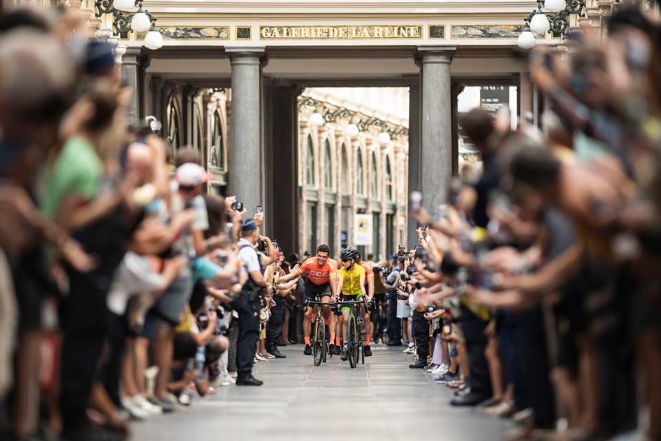 A l'arrivée d'une étape du Tour de France à Bruxelles